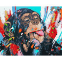 Озорная обезьянка Раскраска картина по номерам на холсте PK11472
