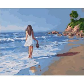Прогулка вдоль берега Раскраска картина по номерам на холсте GX40272