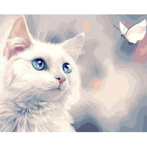 Белоснежный котик Раскраска картина по номерам на холсте GX40251