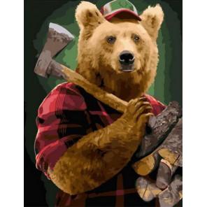 Люмберджек медведь Раскраска картина по номерам на холсте PK11515