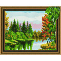 Лесное озеро Алмазная вышивка мозаика Color kit TSGJ1006