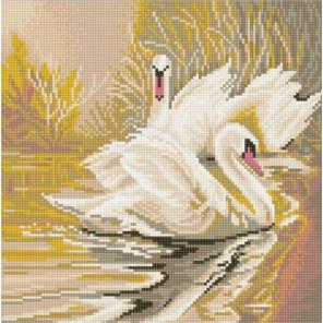 Белые лебеди Ткань с рисунком для вышивки бисером Конек 1340