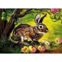 Сладкие яблоки Ткань с рисунком для вышивки бисером Божья коровка 0163