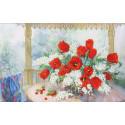 Тюльпаны с черёмухой Набор для вышивания бисером Золотое Руно РТ-160