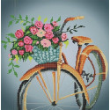 Цветы в корзине Ткань с рисунком для вышивки бисером Божья коровка 0138