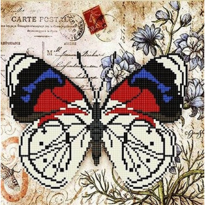 Бабочка 4 Ткань с рисунком для вышивки бисером Божья коровка 0144