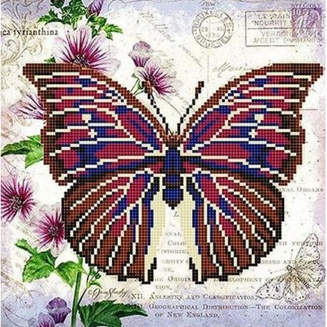 Бабочка 9 Ткань с рисунком для вышивки бисером Божья коровка 0149