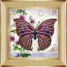 Вариант оформления в рамке Бабочка 9 Ткань с рисунком для вышивки бисером Божья коровка 0149