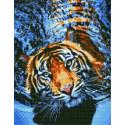 Тигр в воде Алмазная вышивка мозаика на подрамнике на подрамнике WB11809