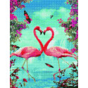 Пара фламинго Алмазная вышивка мозаика на подрамнике на подрамнике WB11804