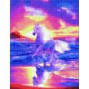 Белый конь на море Алмазная вышивка мозаика на подрамнике на подрамнике WB11802