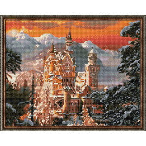 Замок Нойшвайнштайн Алмазная вышивка мозаика с нанесенной рамкой Molly KM0903