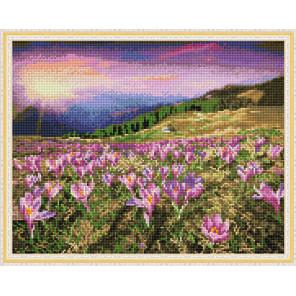 Крокусы в Альпах Алмазная вышивка мозаика с нанесенной рамкой Molly KM0905