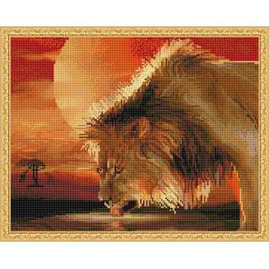 Лев на водопое Алмазная вышивка мозаика с нанесенной рамкой Molly KM0906