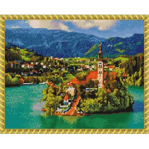 Словения. Озеро Блед Алмазная вышивка мозаика с нанесенной рамкой Molly KM0908