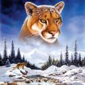 Снежная пума Алмазная вышивка мозаика Molly KM0925