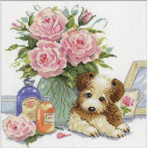 Щенок с розами Набор для вышивания Design works 3264