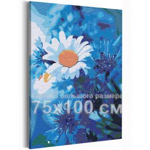 Ромашки на голубом 75х100 см Раскраска картина по номерам на холсте AAAA-RS237-75x100