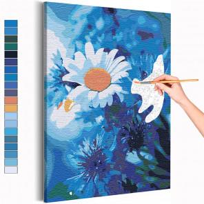 Ромашки на голубом Раскраска картина по номерам на холсте AAAA-RS237