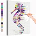 Радужный морской конёк Раскраска картина по номерам на холсте с неоновыми красками AAAA-RS283