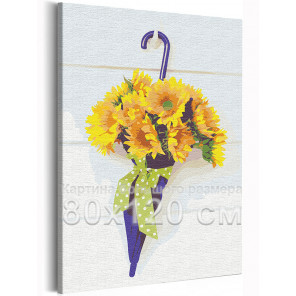 Зонтик с подсолнухами 80х120 см Раскраска картина по номерам на холсте AAAA-RS298-80x120
