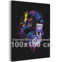 Наушники радужные / Музыка Раскраска картина по номерам на холсте с неоновыми красками AAAA-RS302-100x150