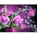 Розовые тюльпаны Алмазная частичная вышивка (мозаика) Molly KM0927