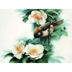 Птица на ветке Алмазная частичная вышивка (мозаика) Molly KM0937