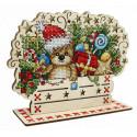 Скоро Новый год Набор для вышивания на деревянной основе МП Студия О-036