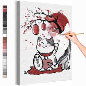 Манэки нэко / Кошка манеки талисман удачи Раскраска картина по номерам на холсте AAAA-RS303