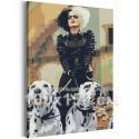 Круэлла и далматинцы / Cruella 100х150 см Раскраска картина по номерам на холсте AAAA-RS304-100x150
