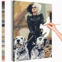 Круэлла и далматинцы / Cruella Раскраска картина по номерам на холсте AAAA-RS304