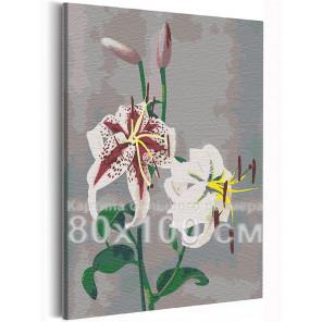 Лилии / Японские цвета Кудзумасы Огавы 80х100 см Раскраска картина по номерам на холсте AAAA-RS229-80x100