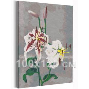 Лилии / Японские цвета Кудзумасы Огавы 100х125 см Раскраска картина по номерам на холсте AAAA-RS229-100x125
