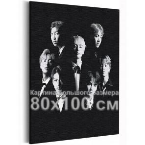 BTS черно-белый арт Корейская K-POP группа 80х100 см Раскраска картина по номерам на холсте AAAA-RS355-80x100