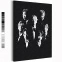 BTS черно-белый арт Корейская K-POP группа Раскраска картина по номерам на холсте AAAA-RS355