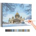 Исаакиевский собор зима / Санкт-Петербург Раскраска картина по номерам на холсте AAAA-RS248
