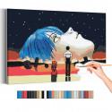 Евангелион / Evangelion Аниме Раскраска картина по номерам на холсте с неоновой краской AAAA-ANI050