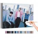Bangtan Boys на фоне небоскребов / BTS Корейская K-POP группа Раскраска картина по номерам на холсте AAAA-RS357