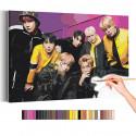 Bangtan Boys на ярком фоне / BTS Корейская K-POP группа Раскраска картина по номерам на холсте AAAA-RS339