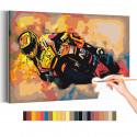 Мотоцикл / Скорость Раскраска картина по номерам на холсте с неоновой краской AAAA-RS193