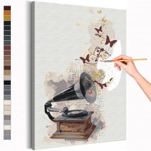 Музыка и бабочки Раскраска картина по номерам на холсте с металлической краской AAAA-RS188