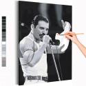 Фредди Меркьюри черно-белый Раскраска картина по номерам на холсте AAAA-RS191