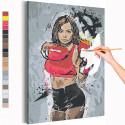 Девушка / Бокс Раскраска картина по номерам на холсте с неоновой краской AAAA-RS192