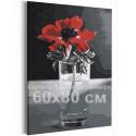 Красный мак на черно-белом фоне / Цветы 60х80 см Раскраска картина по номерам на холсте AAAA-RS391-60x80