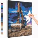 Экскаватор и синее небо / Машины Раскраска картина по номерам на холсте AAAA-RS184