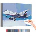 Самолет / Полет в небе Раскраска картина по номерам на холсте с неоновой краской AAAA-RS196