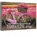 Велосипед и тюльпаны / Цветы 100х125 см Раскраска картина по номерам на холсте с неоновой краской AAAA-RS183-100x125
