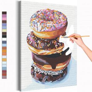 Завтрак с пончиками / Десерт / Еда Раскраска картина по номерам на холсте AAAA-RS145