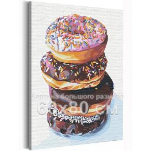 Завтрак с пончиками / Десерт / Еда 60х80 см Раскраска картина по номерам на холсте AAAA-RS145-60x80